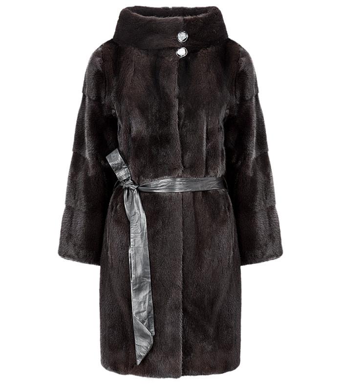 Шуба из аукционного меха норки KOPENHAGEN FUR с кожаным поясом