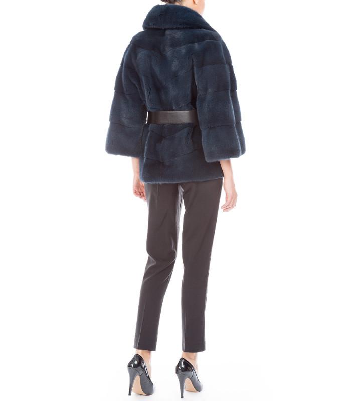 Жакет из аукционного меха норки KOPENHAGEN FUR с кожаным ремнем