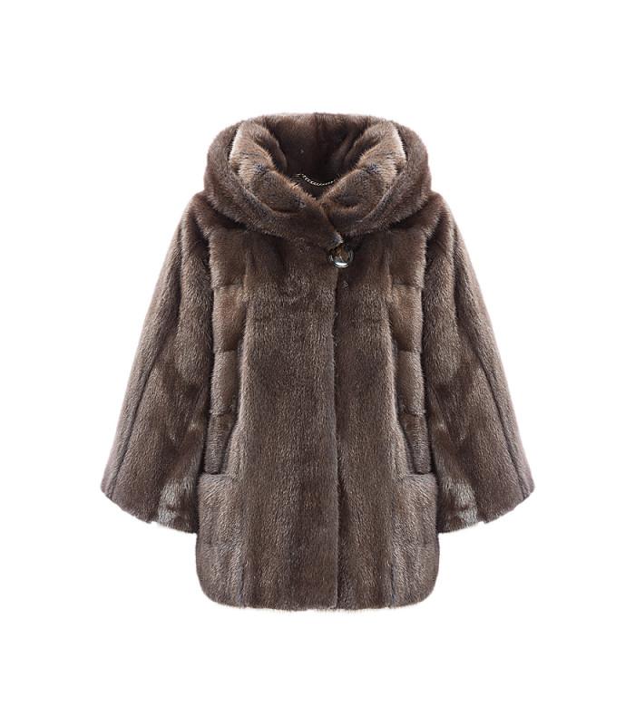 Короткая норковая шуба из аукционного меха SAGA furs с капюшоном