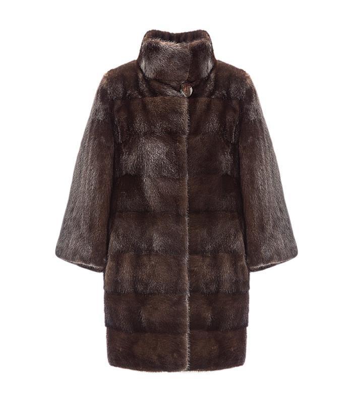 Шуба из аукционного меха норки SAGA furs с воротником-стойкой