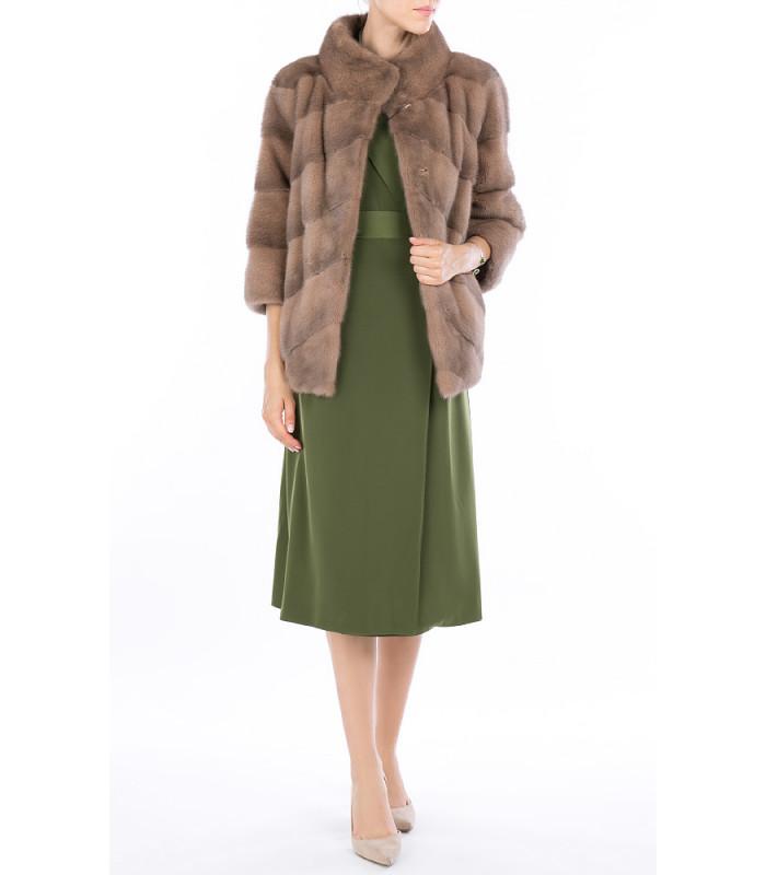 Жакет из аукционного меха норки SAGA furs с отделкой замшей