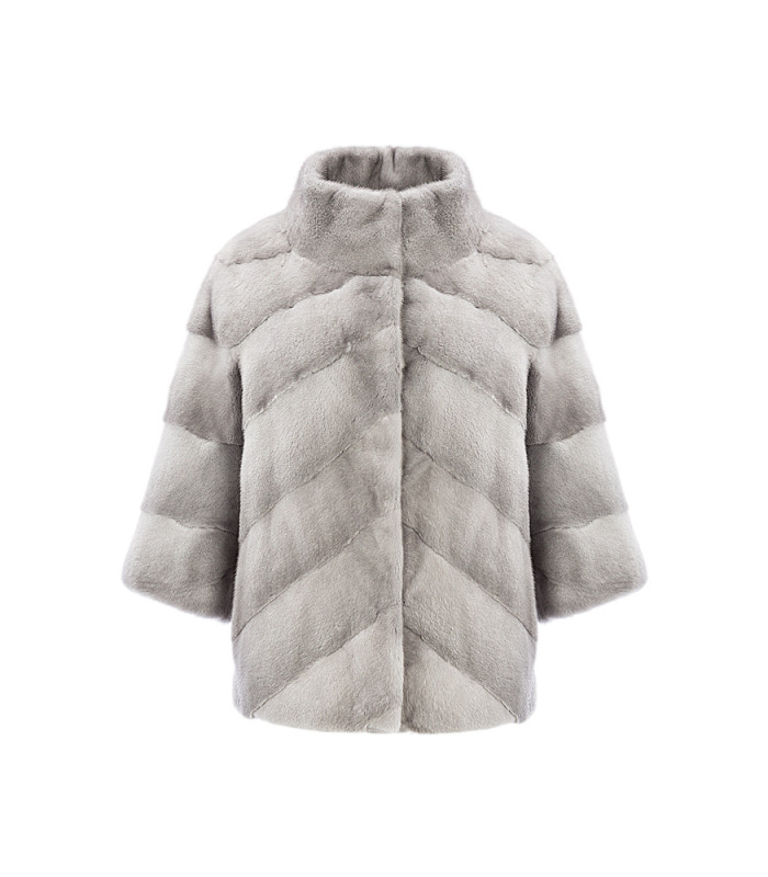 Укороченная шуба из аукционного меха норки SAGA furs с отделкой замшей