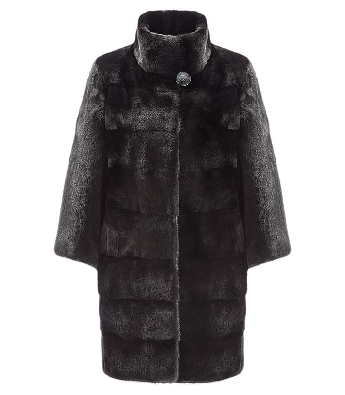 Жакет из аукционного меха норки SAGA furs с комбинированной раскладкой меха