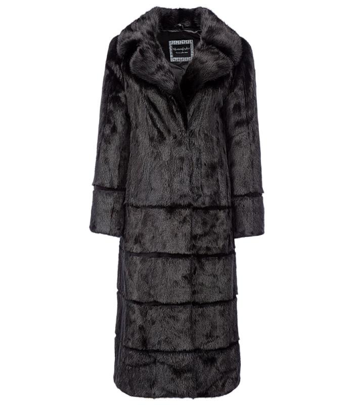 Норковое пальто с поясом из экокожи