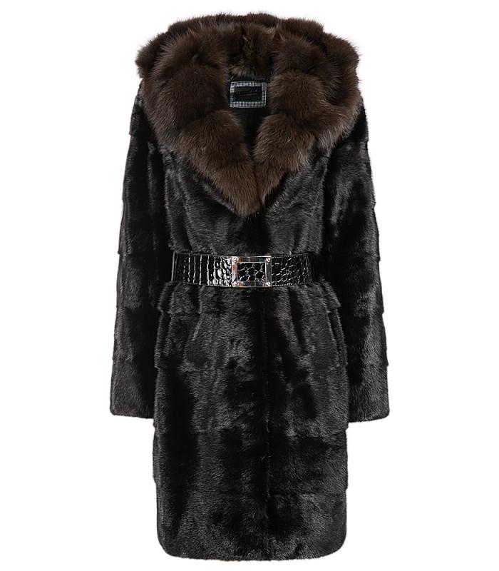 Пальто из меха норки с отделкой мехом куницы и поясом