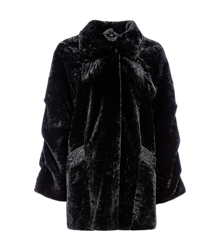 Пальто из овчины с отделкой мехом норки и каракулем
