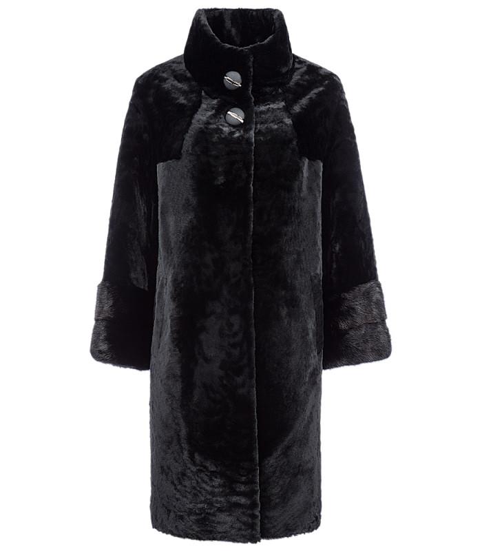 Пальто из овчины с отделкой мехом норки