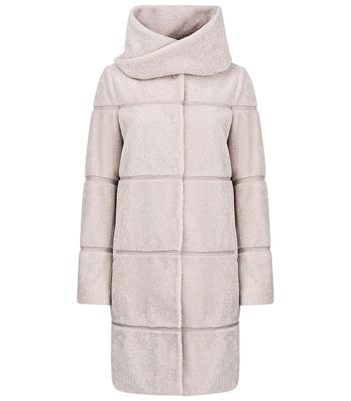 Пальто из вязаной овчины со съемным шарфом из овчины