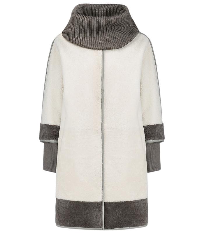 Пальто из овчины со съемными трикотажными деталями