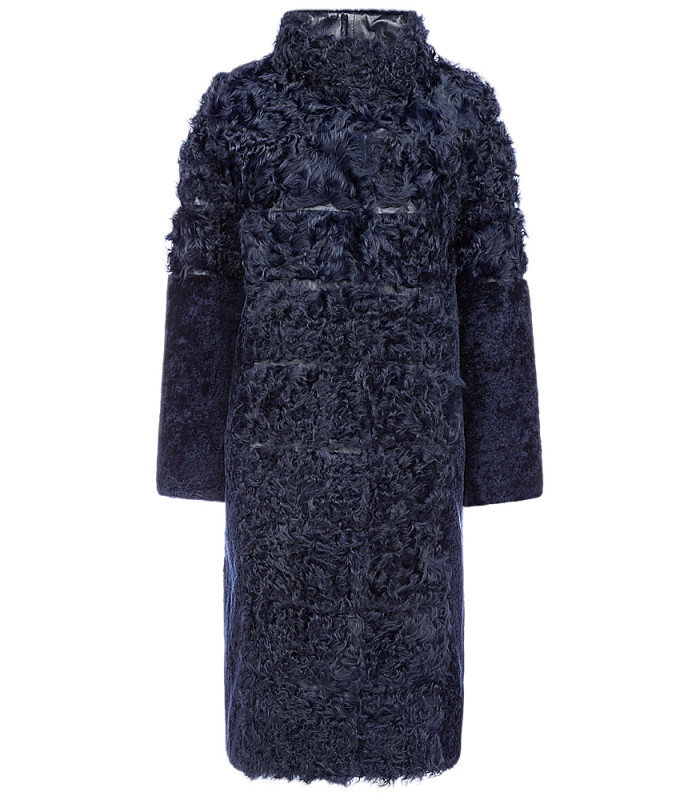 Утепленное пальто из овчины и меха козлика
