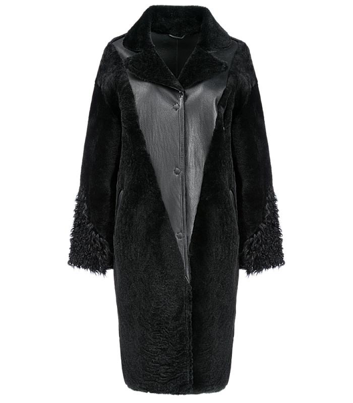 Пальто из овчины с отделкой мехом козлика
