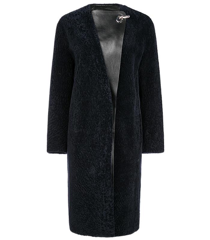 Пальто из овчины с кожаной отделкой