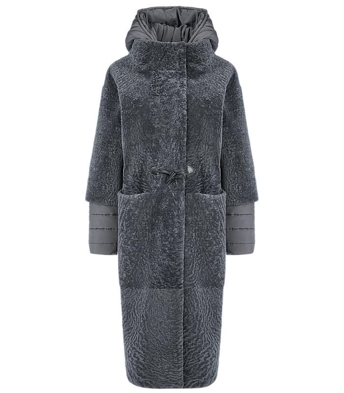 Пальто из овчины со съемными рукавами и капюшоном